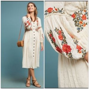 Anthro Maeve GRACIE EMBROIDERED PEASANT DRESS NWT